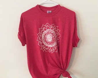 hand-painted sunflower t shirt in heathered red