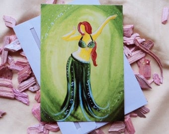 Belly dancing green postcard with envelope