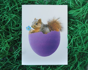 Squirrel in Purple Eggshell Printable Card