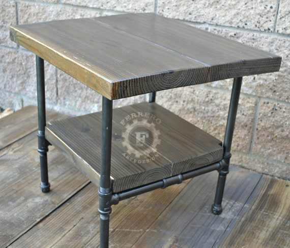 steampunk table industrial nightstand industrial decor