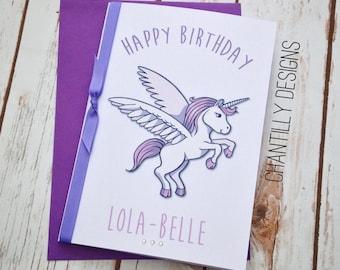Handmade Personalised Unicorn Girls Birthday Card