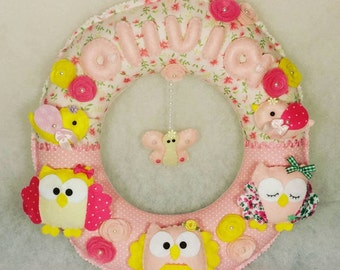 Baby room wreath, baby room door wreath, baby room wall wreath, personalized wreath, embroidery wall wreath, baby room wreath hanging