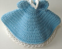Crocheted Dress For Air Freshener Doll, Blue and White Dress For Decorative Doll