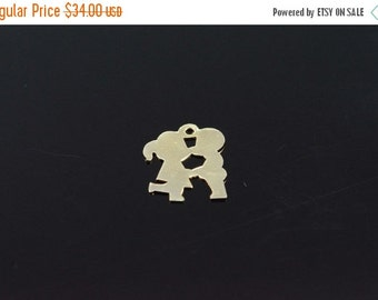 1 Day Sale 14K Couple Kissing Silhouette Charm/Pendant Yellow Gold