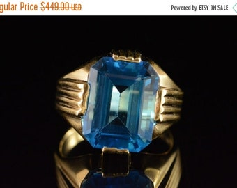 1 Day Sale 14K 11.00 Ct Blue Topaz Statement Ring Size 9.75 Yellow Gold