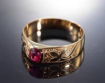 10K Antique 0.40 CT Ruby Bezel set Ring - Size 10 / Rose Gold - EL4687