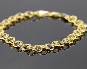 "14K Link Charm Bracelet 8"" Yellow Gold - EM1371"
