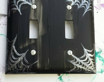Black Spider Web Lightswitch Plate