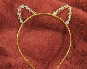 Cat ears headband gold or silver wth crystals