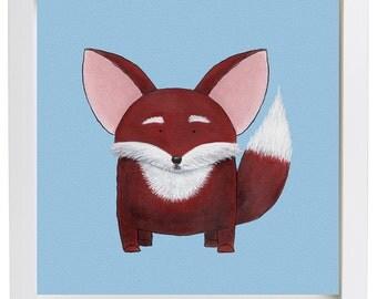 Mr. Fox on a bleu background-Print-Painting