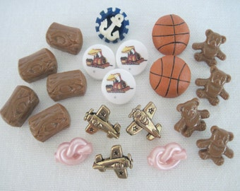 Mixed Lot Buttons, Mixed Buttons, Sewing Buttons, Novelty Buttons, Mixed Lot Sewing Buttons, 20 Buttons