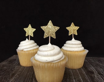 Glittered Star Cupcake Toppers 12CT, Star appetizer picks, Twinkle Twinkle Little Star Party, Little Star Party, Star Baby Shower, 1st bday