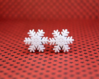 Christmas snowflake plugs for gauged ears 4mm 6G stretched white snow winter