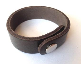 "Brown Genuine Leather Cuff Bracelet ~ 9 x .75"""