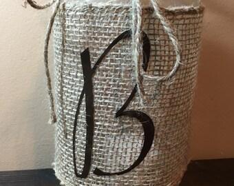 Monogrammed Mason Jar Lantern