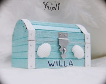 Mermaid treasure chest party favor - blue and white // Mermaid Party Favor // Mermaid Party Supplies