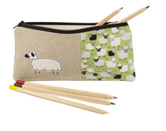 Sheep pencil case, Pencil pouch, Large pencil case, Pencil holder, Zipper pouch, Pencil organiser, Fabric pencil case, Sheep Gift, Gift idea