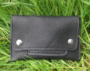 Leather Tobacco pouch, black ,supple leather, naturely grained