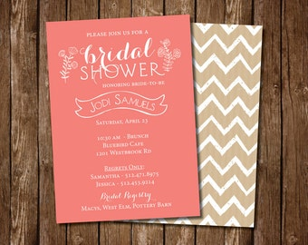 Coral & Chevron Bridal Shower Invitation