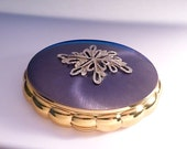 Vintage something blue gifts Kigu Concerto musical powder box musical compacts  TEAL enamel