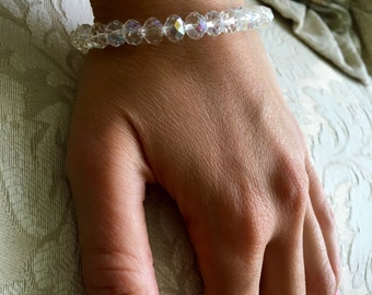 1 Crystal Rondelle Bracelet, New, Handmade by me the designer of OLIVIANCIO