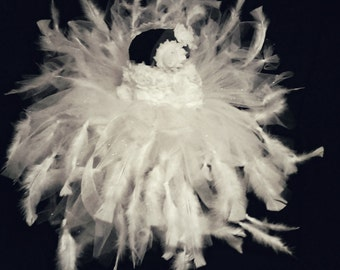 White Feathered Flower Girl / Pageant Dress 2T-3T