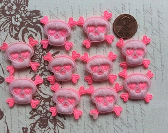 SET of 10 Padded 2 Shades of Pink Felt Skull Appliques/trim/DIY/hair bow/hair clip/embellishments