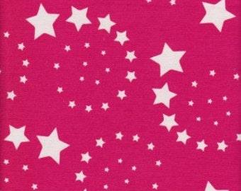 Cotton Lycra Fuchsia Swirl Stars Print Knit Print BTY