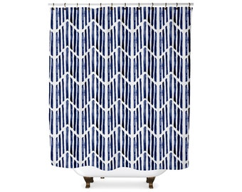 Indigo match stick tribal shower curtain