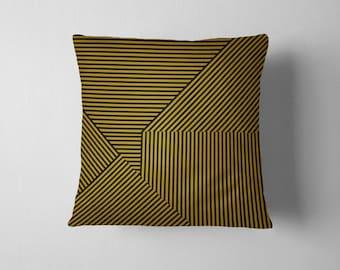 Mustard and black geometric stripe throw pillow