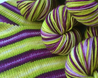 Hand dyed self striping merino sock yarn - Glow Away