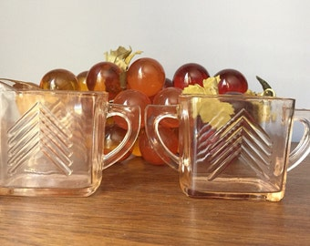 Art Deco Milk and Sugar Set / Art Deco Glass / Vintage Milk and Sugar Combo / Vintage Creamer and Sugar Bowl Set
