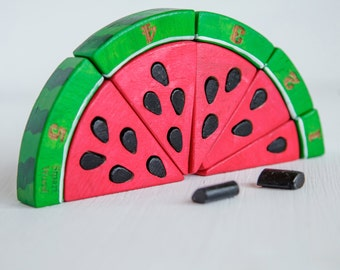 Watermelon wooden counting puzzle, Montessori educational toy