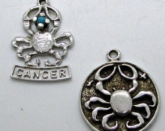 Vintage Cancer Zodiac Sterling Silver Bracelet  Charm Lot Of 2 Turquoise Colour Bead