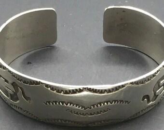 Sterling Silver Kokopelli Cuff Bracelet Overlay Stamped Bracelet Southwestern Southwest Native American Fertility God