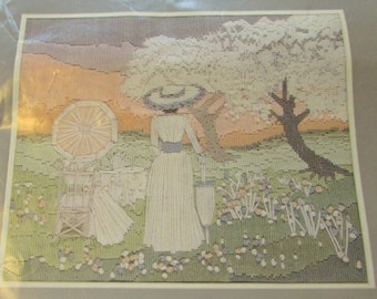 Anchor Long Stitch Needlepoint Embroidery Kit Tea  On The Lawn  1063 Victorian Ladies Umbrella Landscape