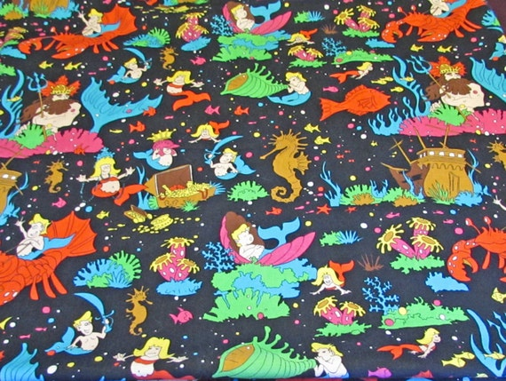 Under the sea fabric mermaid mermen riding lobster for Children of the sea fabric