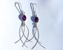 """Sterling Silver Amethyst Earrings 2.5"""""""