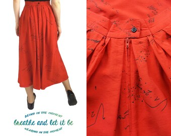 CLEARANCE! 80s High Waisted Red Calligrapy Pattern Print Skirt , Size Small Midi, Skirt with Pockets, Pleated Skirt, Ink Splash Skirt