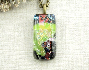 Fused Dichroic Pendant - Green, Blue and Red Fused Glass Necklace - Small Pendant - Glass Jewelry