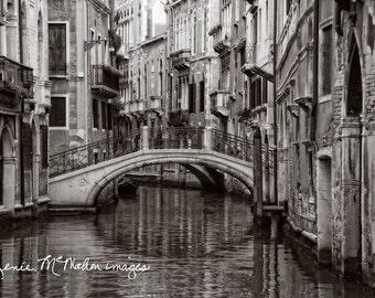 Venice photo, large wall art, black white photo, Italy photography, Venice canal, home decor, urban art, office decor,