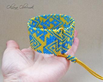 Beaded cuff bracelet ukrainian jewelry yellow blue bracelet unique jewelry