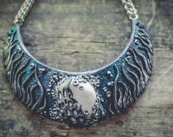 Statement necklace Bib necklace bright necklace emerald and silver necklace cameo necklace stone imitation