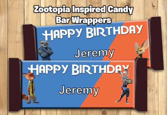 Zootopia Inspired Candy Bar Wrappers - Customize Print - Zootopia Chocolate Bar Wrappers wrappers 1.5oz 43g Zootropolis candy bar wrappers