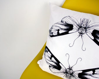 Hand Screen Printed Moth Cushion / Throw Pillow - Ethically Made Insect, Wildlife Print Design