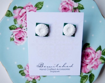 Surgical Stainless Steel Kueh Tu Tu Earring Studs. A local Singapore snack & great for Chinese New Year!