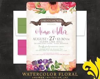 WATERCOLOR FLORAL . shower invitation