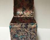 Vintage Oriental Style Decoupage Jewellery/Storage Box. Treasure Chest, Handmade. 9.5x8x7 cm.