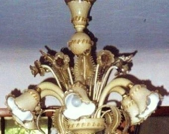 "Vintage Italian VENETIAN Murano Glass 6 Lights NARCISSUS CHANDELIER 36"" Beige Satin & Amber Glass"