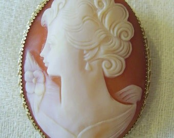 Vintage Victorian Style Carved SHELL Lady Flower CAMEO Pin BROOCH Pendant 1/20 14KGF Italy 10.6 grams